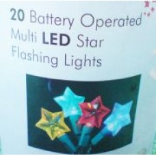 BATTERY OPERATED SET OF 20 MULTI COLOUR FLASHING STARLED